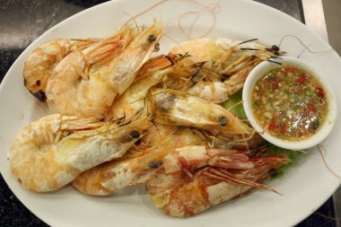 Grilled Shrimp seafood in dish.