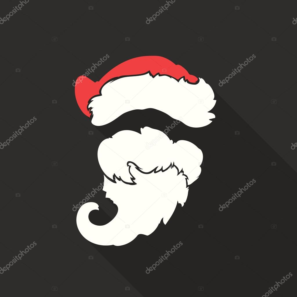 Flat design vector santa claus face with beard and hat icon flat design vector santa claus face with beard and hat icon greeting card m4hsunfo