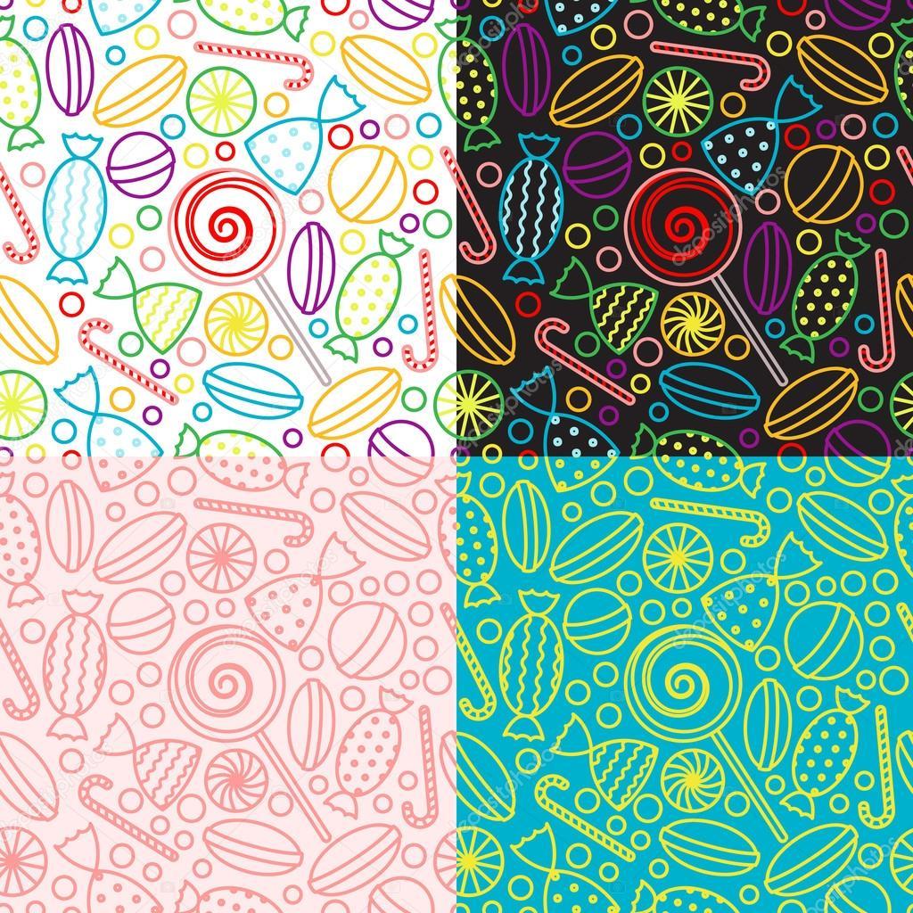 Conjunto de vector de patrones sin fisuras con caramelos — Archivo ...