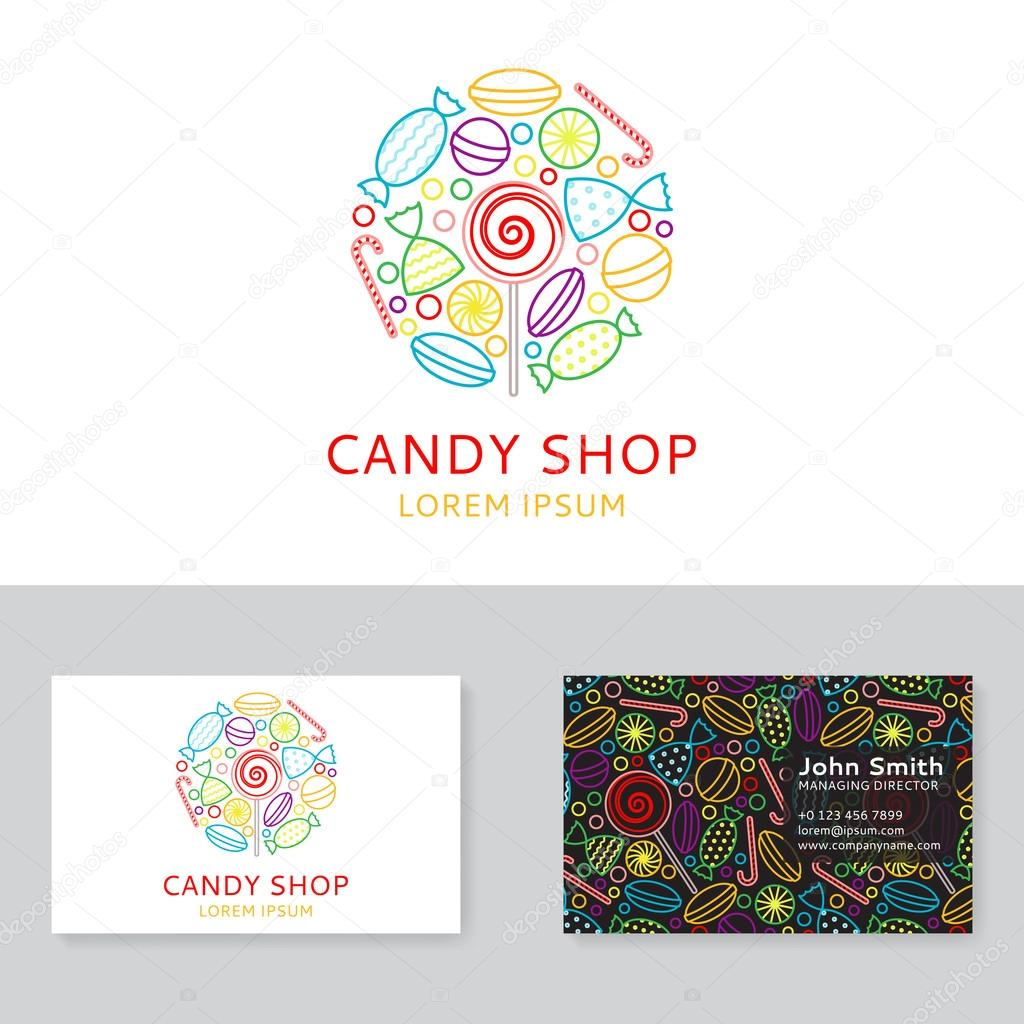 Candy shop logo and business card — Stock Vector © avgust01 #100521714