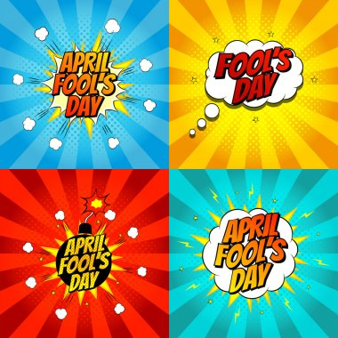 Set of pop art comic april fool's day illustrations