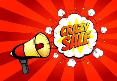 Crazy sale banner with loudspeaker or megaphone in retro pop art style