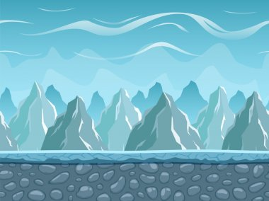 Seamless cartoon landscape with mountains.