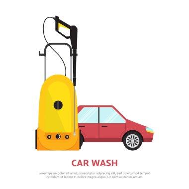 Car wash web banner in flat style.