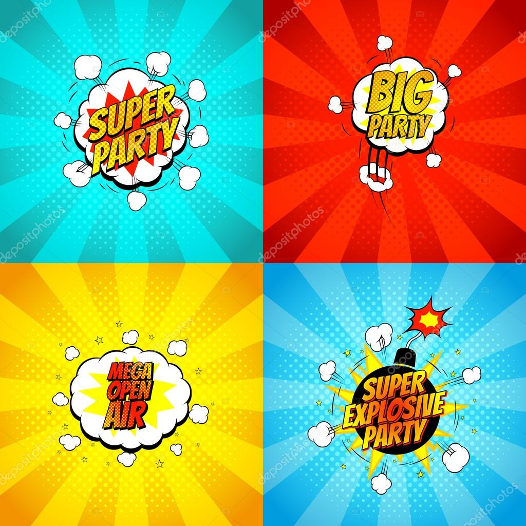 Set Of Disco Party Symbols In Pop Art Style Stock Vector