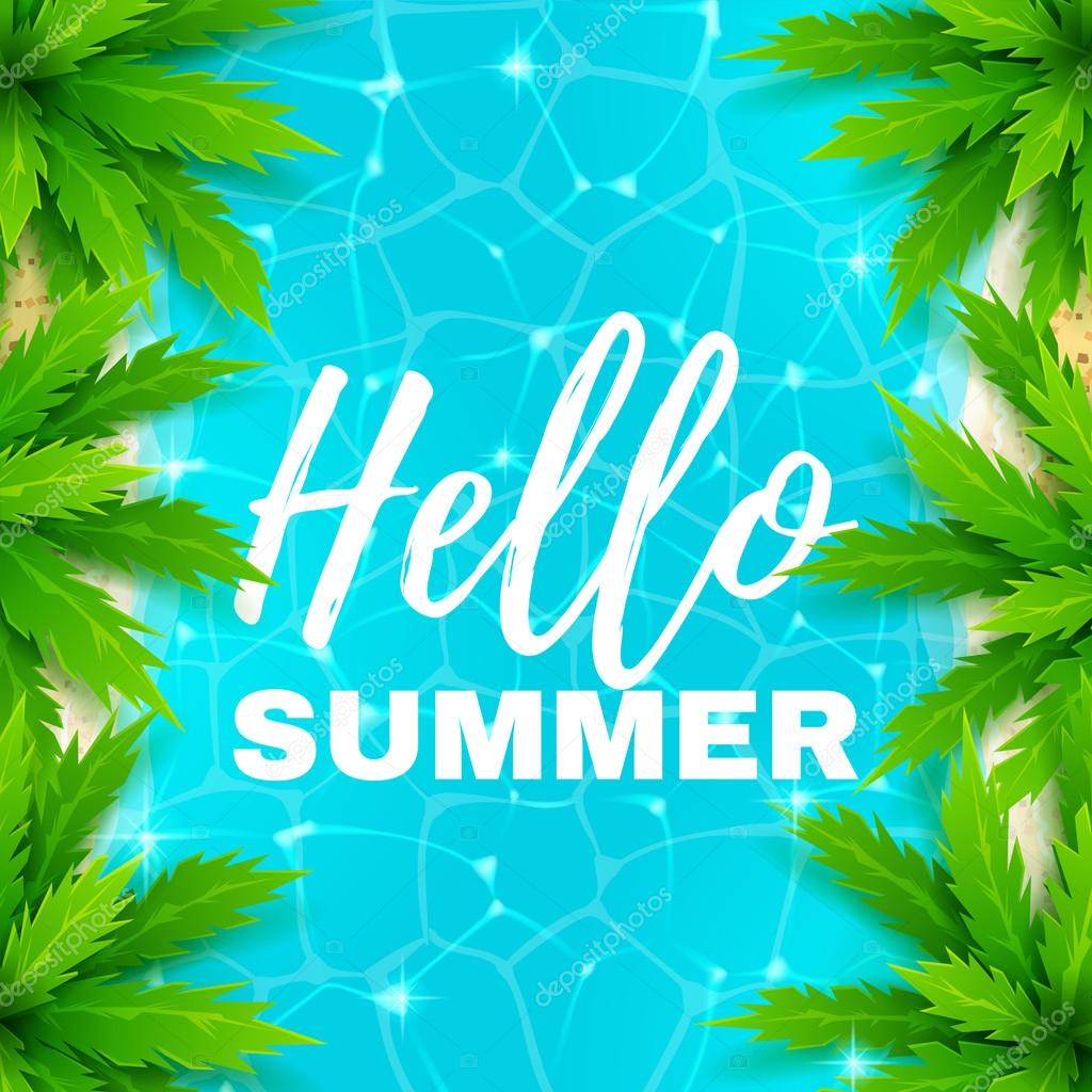Hello summer banner with water texture
