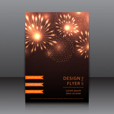 Vector design of the flyer with fireworks