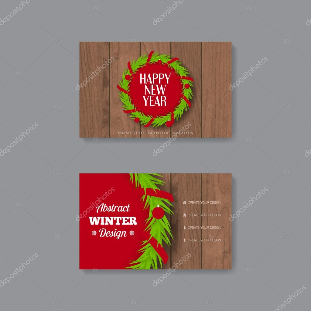Business Card Template With Christmas Wreath Stock Vector