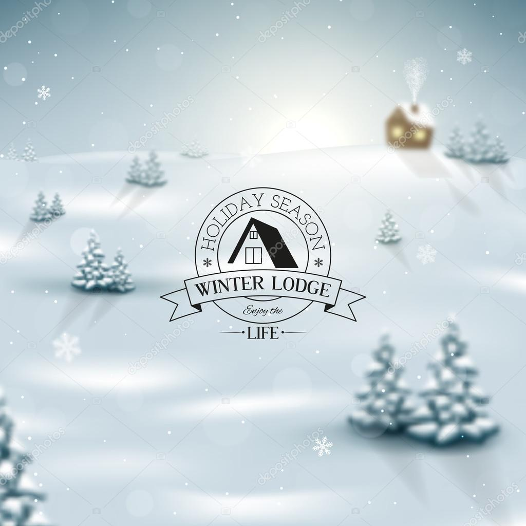 Christmas winter landscape with snowflakes