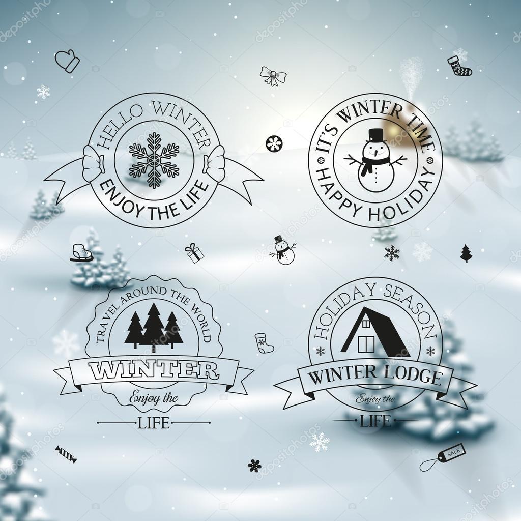 Winter decoration set of calligraphic and typographic design