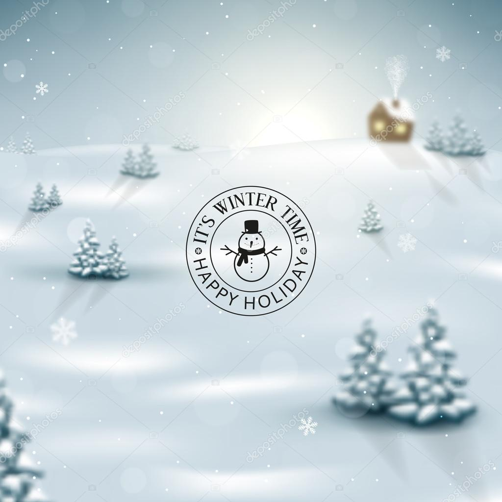 Winter landscape background with snowflakes