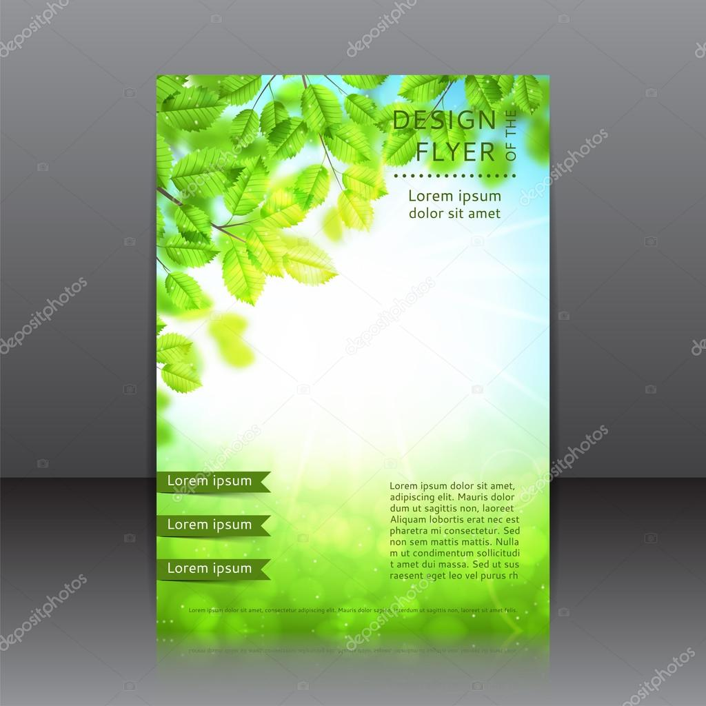 Vector design of the flyer with leaves and sun