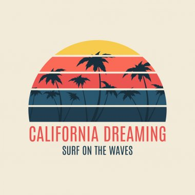 California surf illustration typography