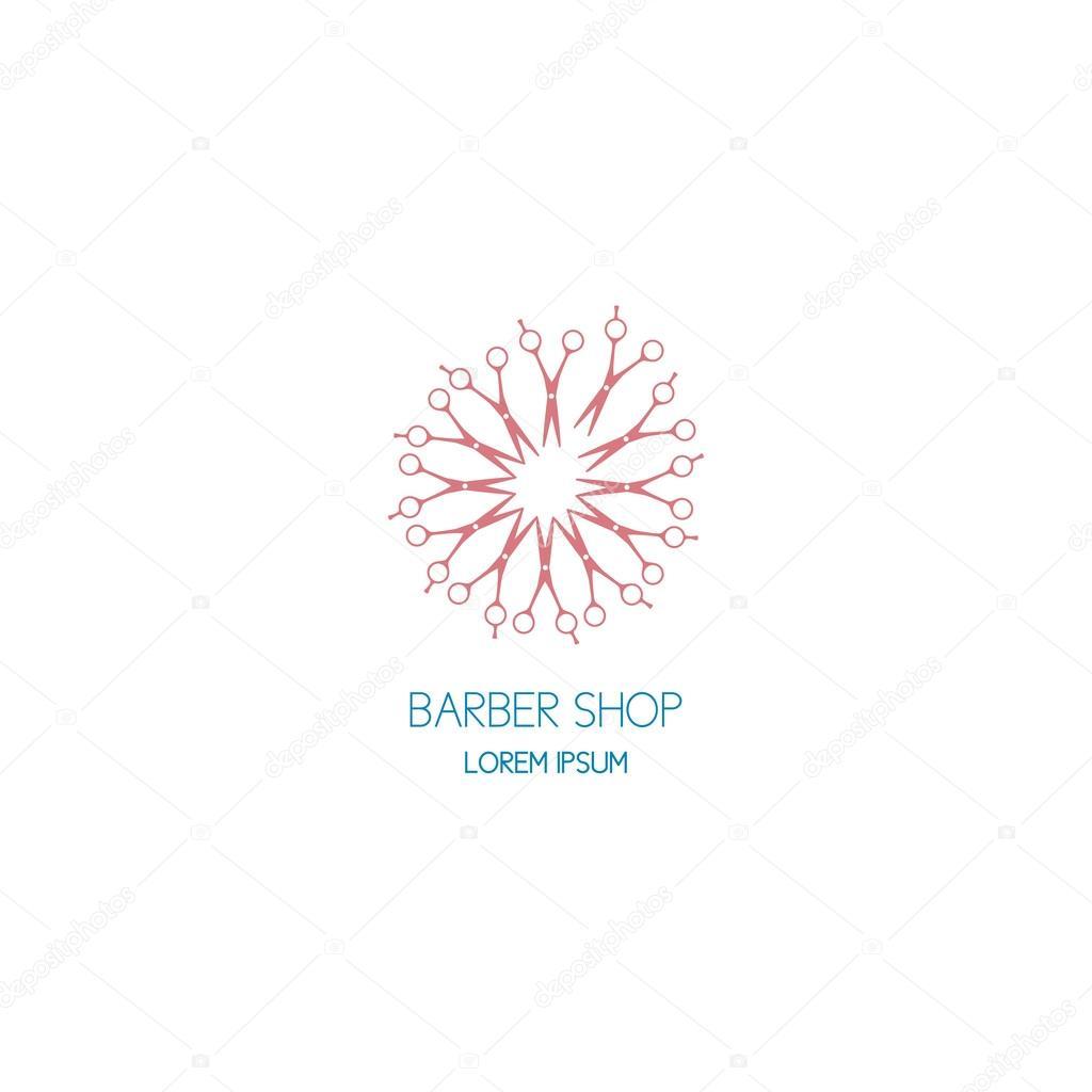 concept of template logo barbershop in a dandelion shape stock