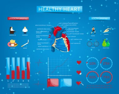 Set of infographics about healthy heart
