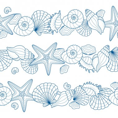 Set of seamless ribbons with seashells and starfishes