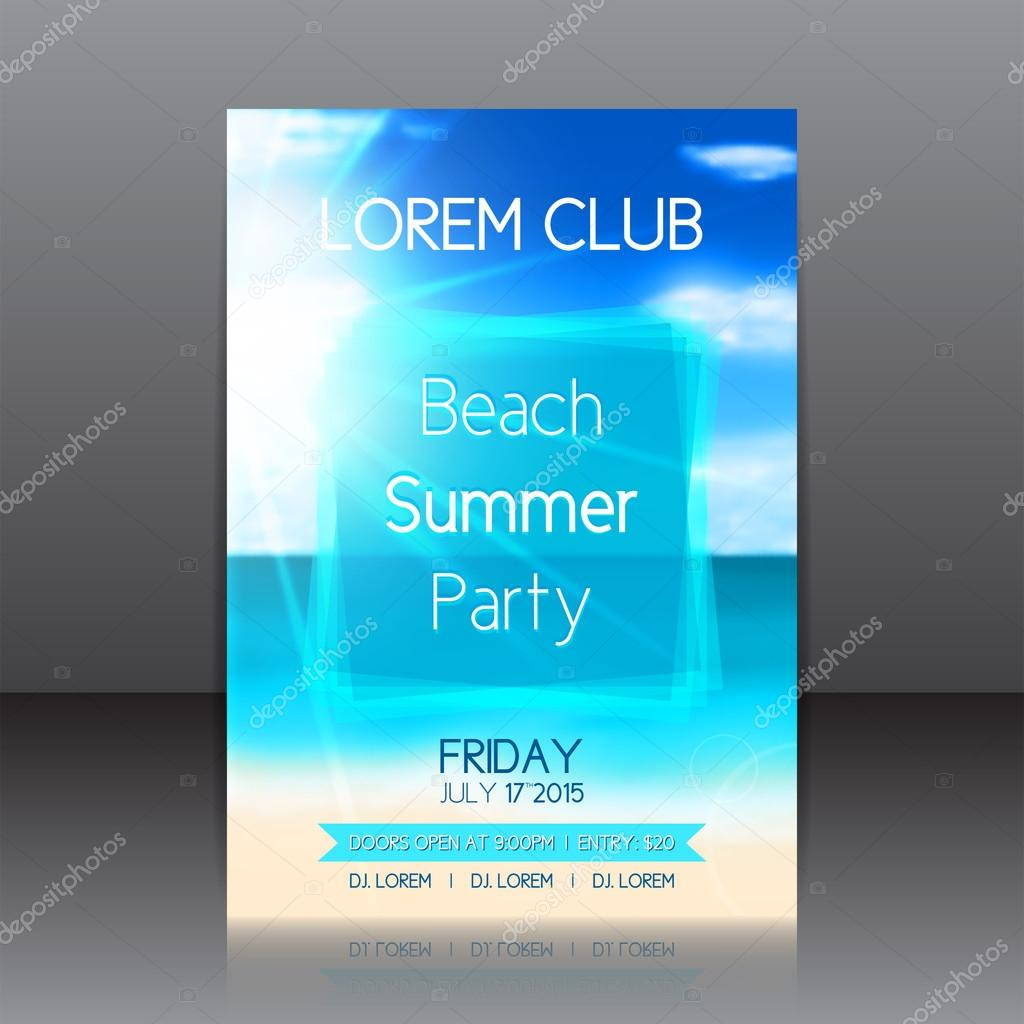 Flyer for a summer party with background with seashore