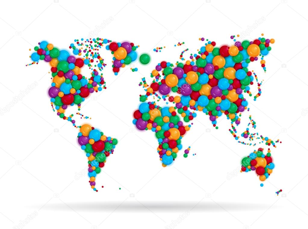 Colorful world map from color balls stock vector avgust01 75821141 colorful world map from color balls stock vector gumiabroncs Gallery