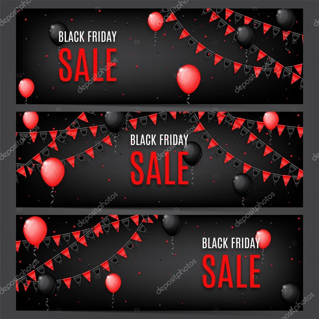 Three banners of Black Friday sale