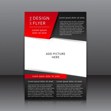 Design of the black and red flyer vector illustration whit place for pictures.