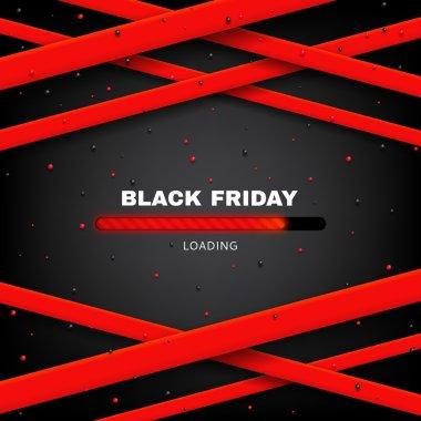 Design of poster of Black Friday sale with loading bar vector illustration