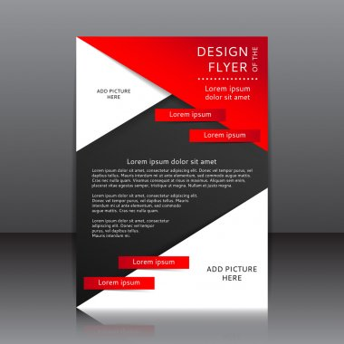 Design of the black and red flyer vector illustration whit red elements and place for pictures
