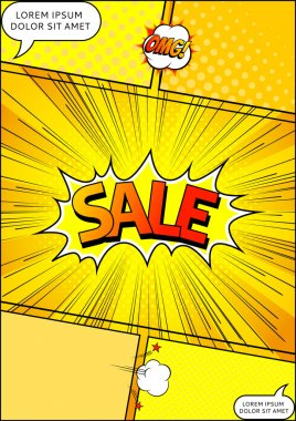 Design of the flyer pop art comic sale discount promotion vector illustration