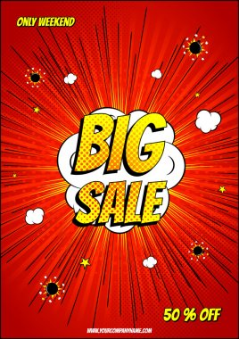 Design of the red explosion flyer pop art comic sale discount promotion