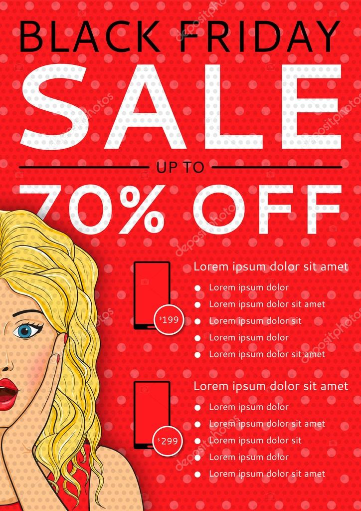 Red flyer of Black Friday sale with surprised woman and places for text in style pop art