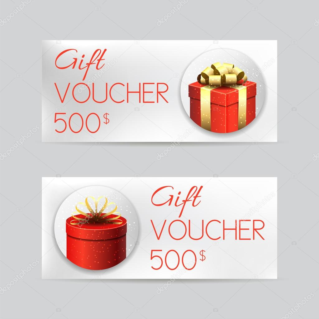 Gift Voucher Template With Christmas Gifts U2014 Stock Vector  Christmas Gift Vouchers Templates