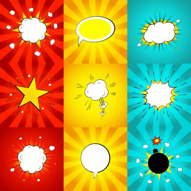 Set of comic bursts in pop art style