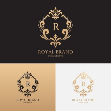 Vector template of logo of boutique brand with crown and floral ornament