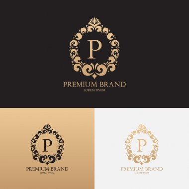 Vector template of logo of premium brand with floral ornament