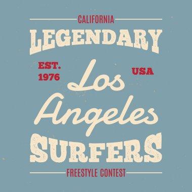 Vintage Hand drawn apparel fashion print Legendary surfers for t-shirt.