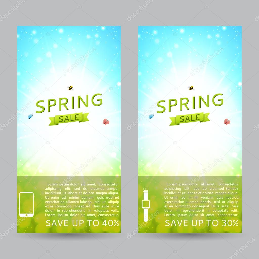 Set of elegant spring sale banners