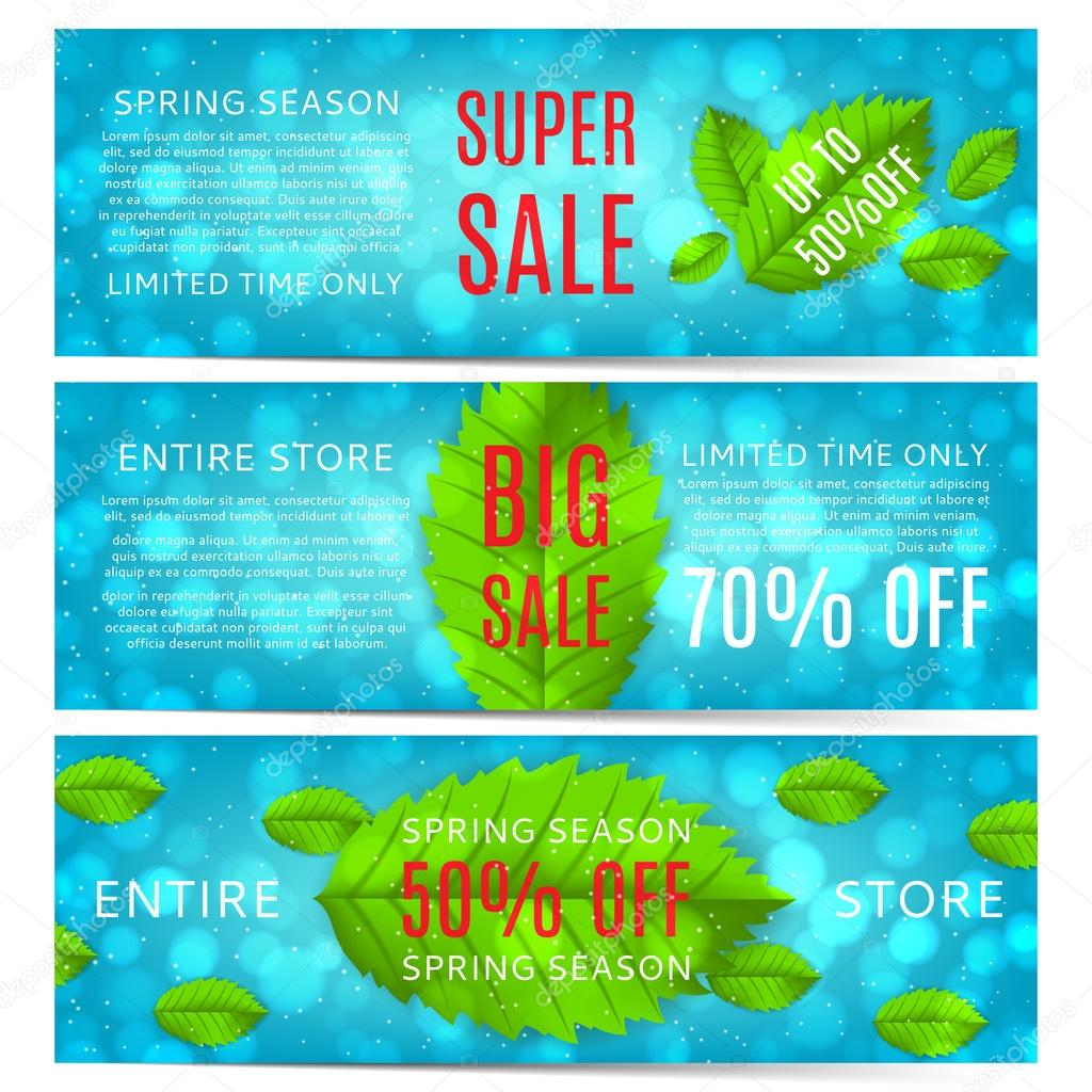 Set of spring sale banners with leafs