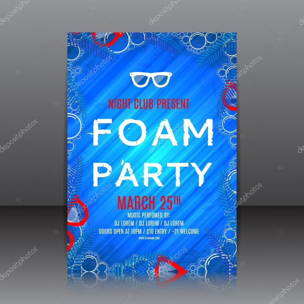 Foam party flyer with palm tree twigs