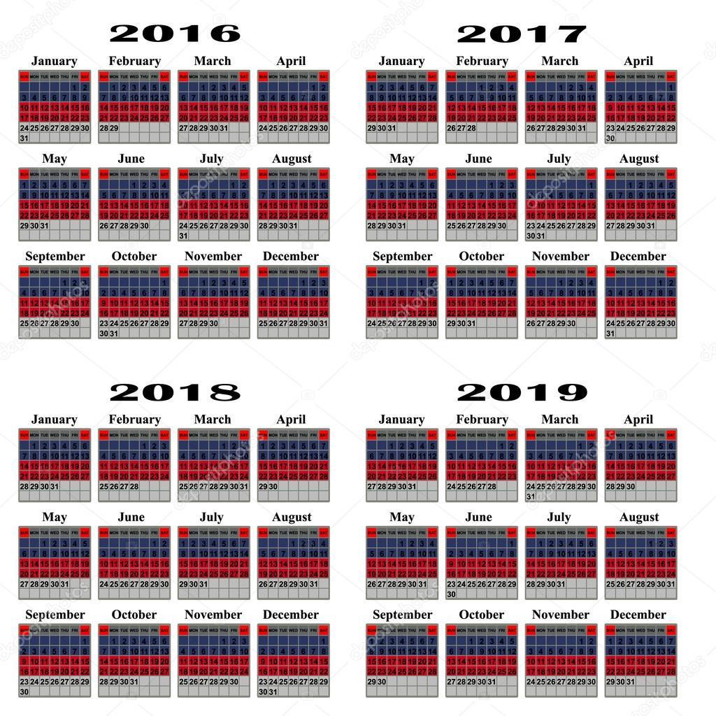 2019 évi naptár 2016,2017,2018, 2019 évi naptár — Stock Vektor © liluly332201  2019 évi naptár