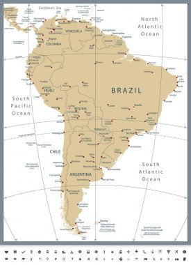 South America Political Map and Glyph Icons