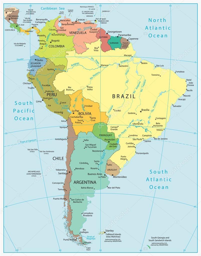 South America Detailed Map Stock Vector C Livenart 103704066