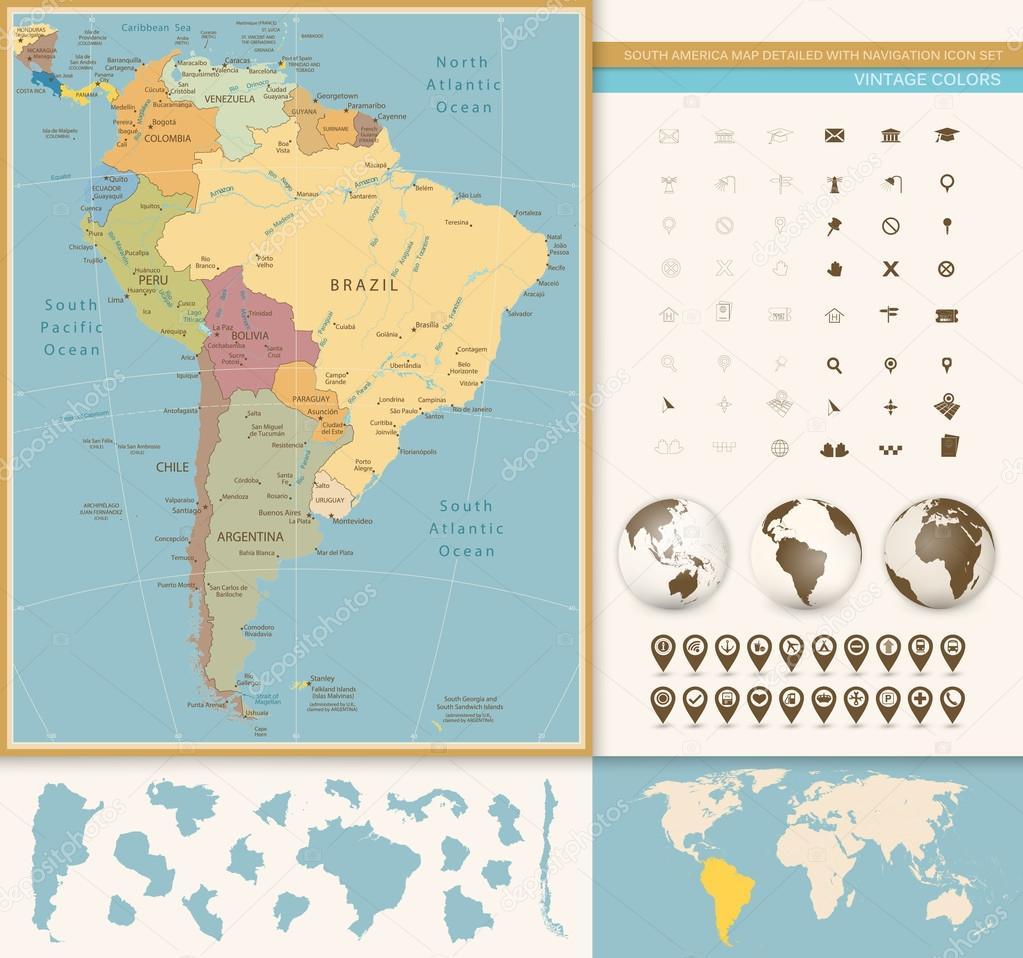 Carte Amerique Du Sud Jeu.L Amerique Du Sud Carte Detaillee Avec Le Jeu D Icones De