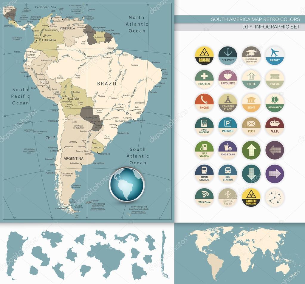 América Do Sul Mapa Cores Retro E Plana Icons.All Elementos São Separados  Em Camadas Editáveis Claramente Rotuladas U2014 Vetor De Livenart