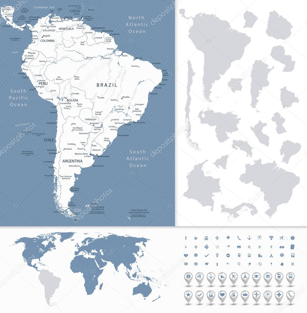 South america highly detailed map and world map stock vector south america highly detailed map and world map stock vector gumiabroncs Choice Image