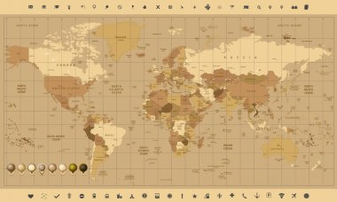Detailed World Map in colors of brown and glossy pin icons