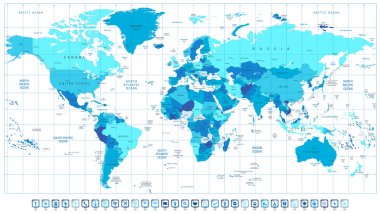 Detailed World Map in colors of blue and 3D square pin icons