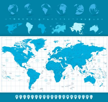 World Map, Globes and Navigation Icons