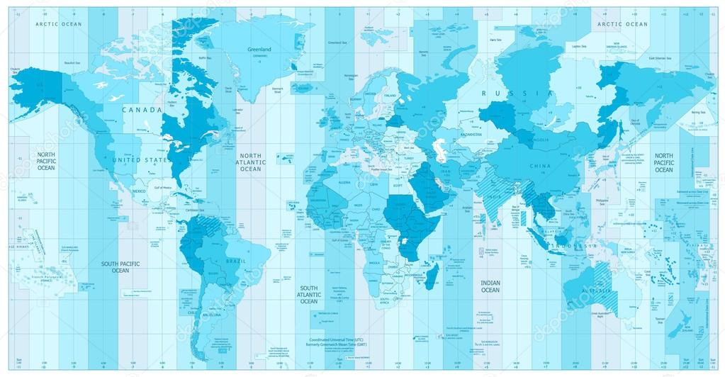 World map with standard time zones in colors of blue stock world map with standard time zones in colors of blue stock vector 113889478 gumiabroncs Image collections