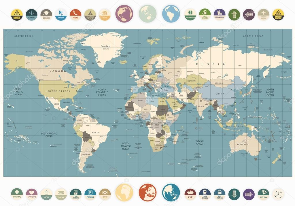 World map old colors illustration countries cities water objects world map old colors illustration with round flat icons and globes all elements are separated in editable layers clearly labeled vector by livenart gumiabroncs Choice Image