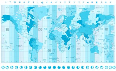 World Map with Standard Time Zones soft tints of blue with clock