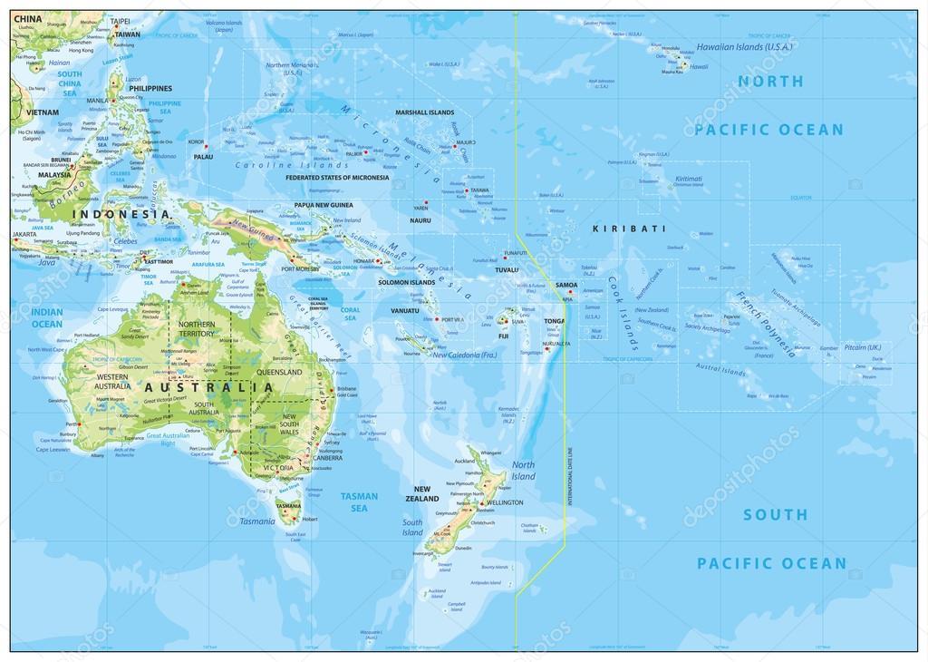 Relief Map of Oceania — Stock Vector © Livenart #116609996